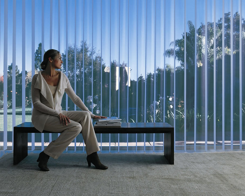 Vertical Blinds, Woman sitting inside, Interior Windows, Sunset Windows