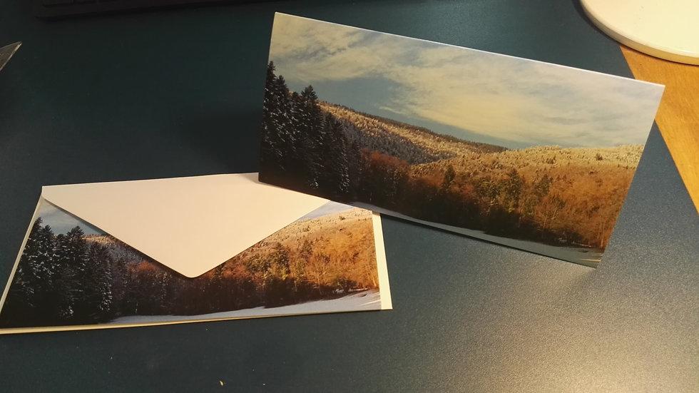 Carte postale Mont-Tendre enneigé + enveloppe