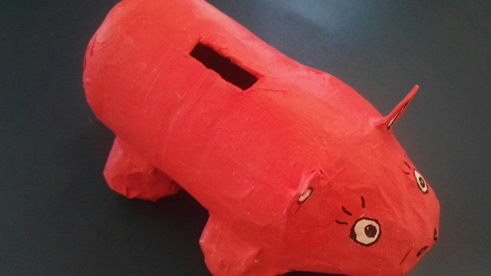 Tirelire «cochon» en papier mâché