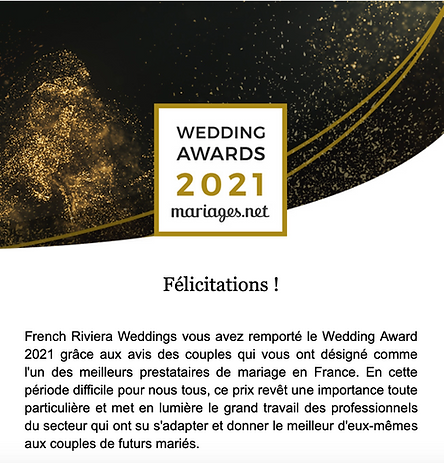 French Riviera weddings award 2021
