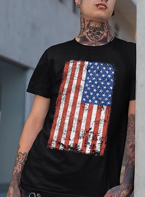 "Men's Soft Ringspun Cotton ""American Flag"" Tee"