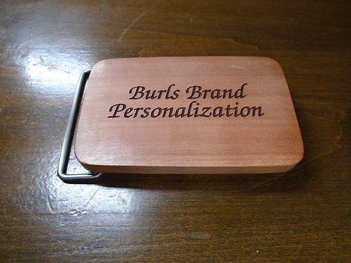 Personalized Saba Wood Belt Buckle | Customizable Wood Buckle | Custom Buckle