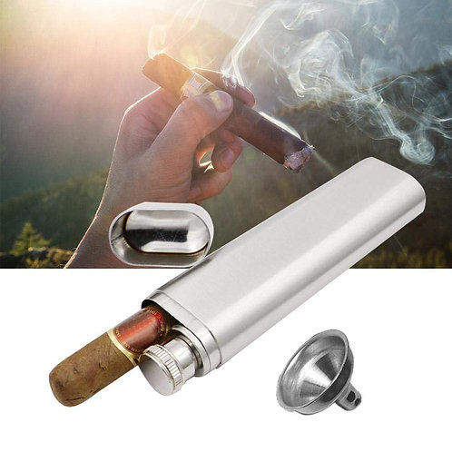 Flask | Cigar Case | Personalized Stainless Steel 2oz Flask with Cigar Sleeve