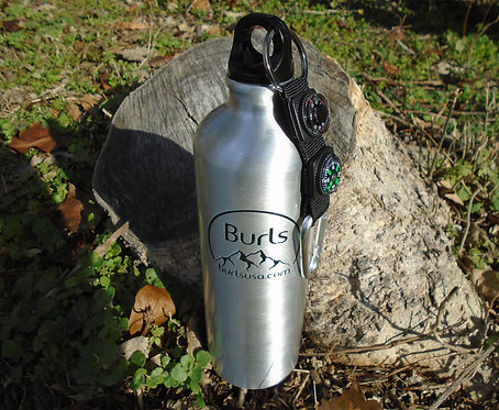 26oz Aluminum Water Bottle With Carabiner   Compass   Thermometer   Key Ring