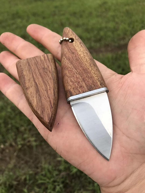 Portable Key Ring Knife | Classic Wooden Handle Case with Stainless Steel Blade