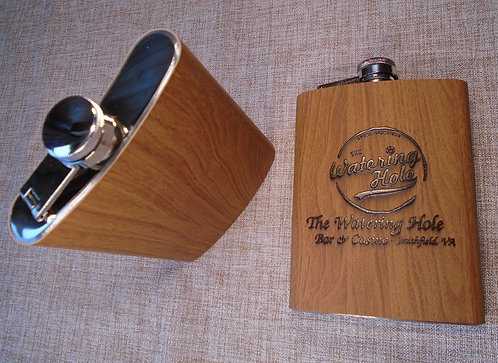 Wood Hip Flask | Personalized 8oz Stainless Steel With Wood Veneer  | Customized