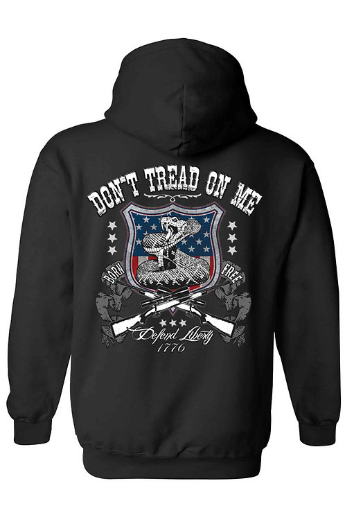 Unisex Zip Up Hoodie USA Flag Don't Tread on Me Defend Liberty