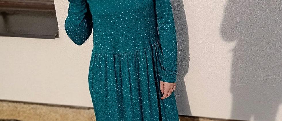 Bambusové šaty s řasenou sukní Petrolej s puntíčkem