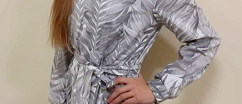 Košilové šaty šedé listy