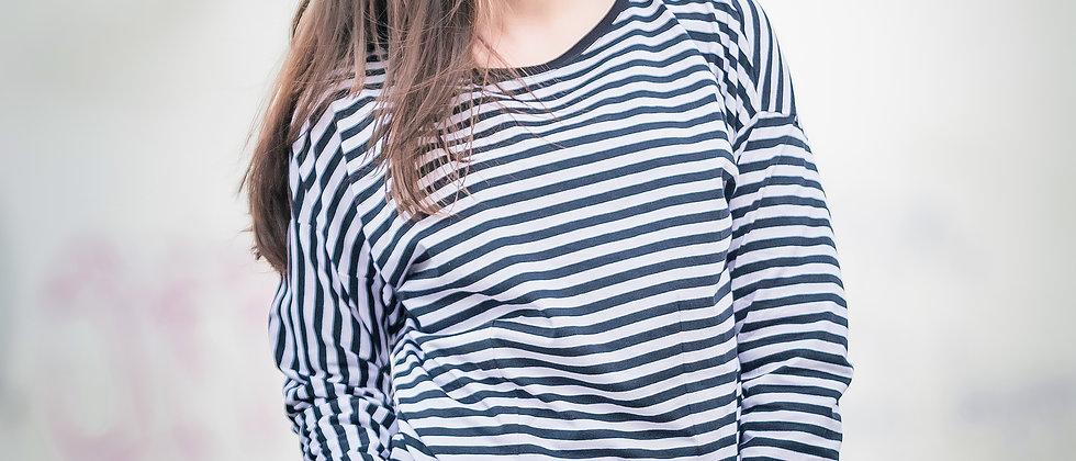 Úpletové šaty černobílý proužek s koženkovou sukní