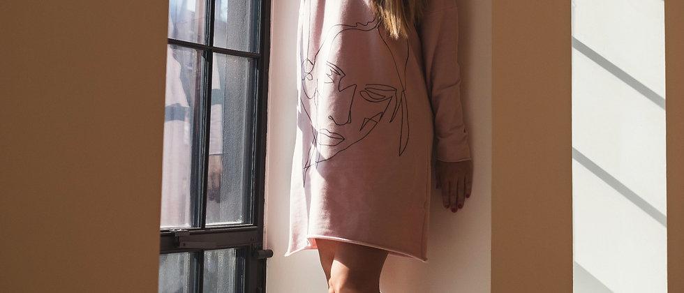 Teplákové šaty s ruční kresbou růžová