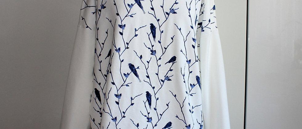 Mikina Birds bílý rukáv