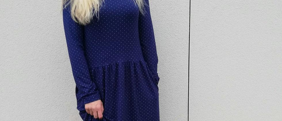 Bambusové šaty s řasenou sukní modré