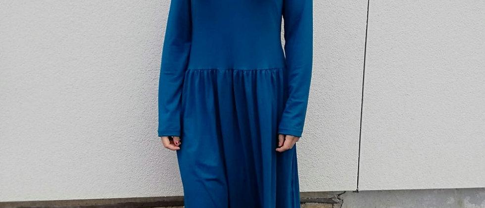 Bambusové šaty s řasenou sukní Petrolej