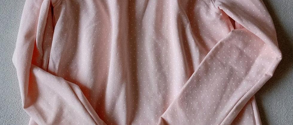 Mikinové tričko v jemně růžové s puntíky