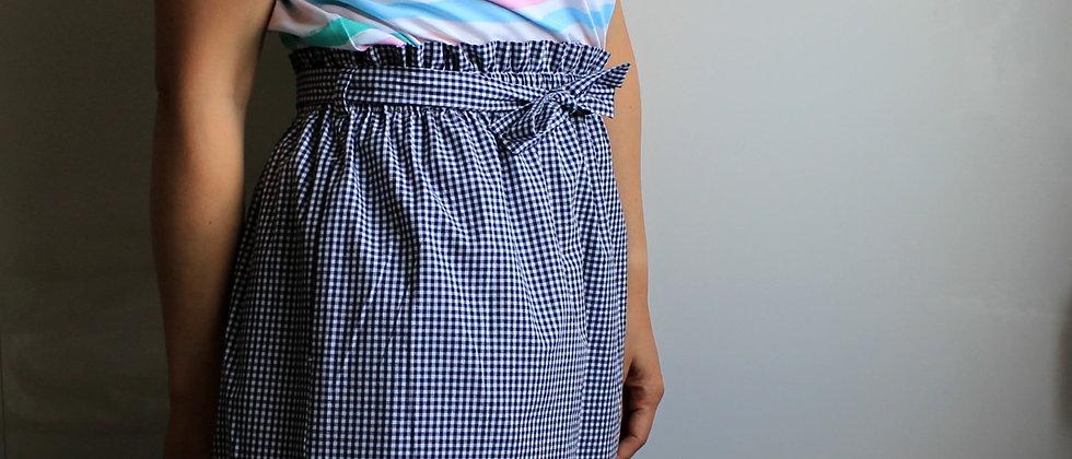 Řasená sukně V modré kostičce