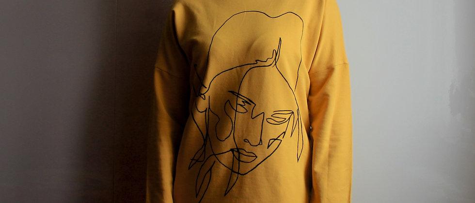 Teplákové šaty s ruční kresbou žlutá šafránová