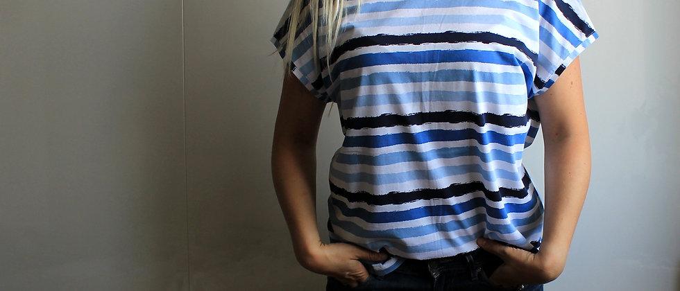 Tričko pruhy modré BIO