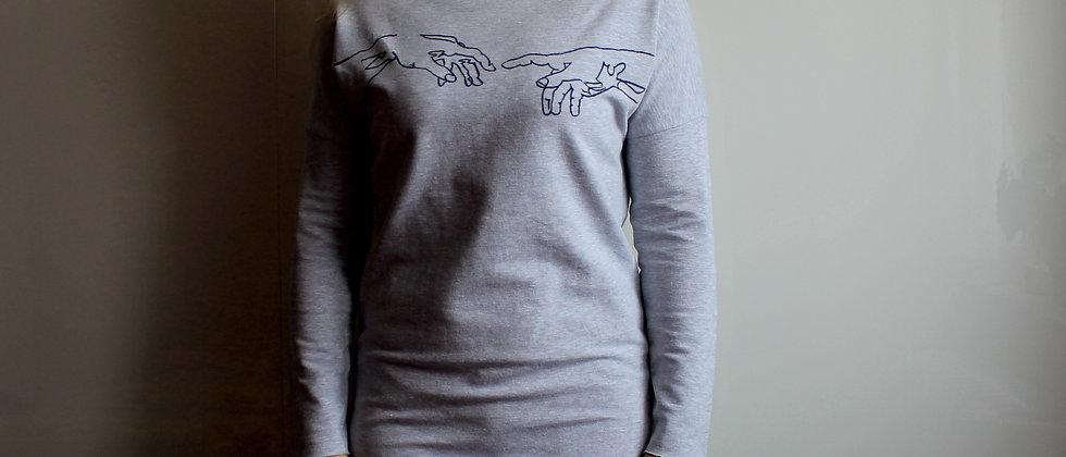 Teplákové šaty s ruční kresbou šedé