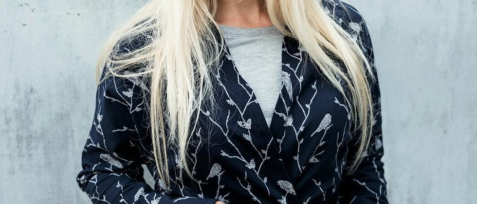 Dlouhé kimono s ptáčky