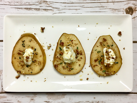 Festive Baked Pears with Goat Cheese, Honey, and Pecans