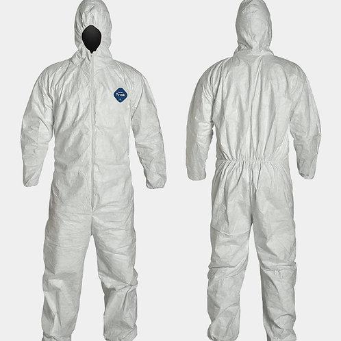 DUPONT Hooded Disposable Coveralls, White, Tyvek(R) 400,  zipper