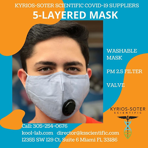 5 Layers Mask include filter and valve. Adjustable nose it keeps closed and safe