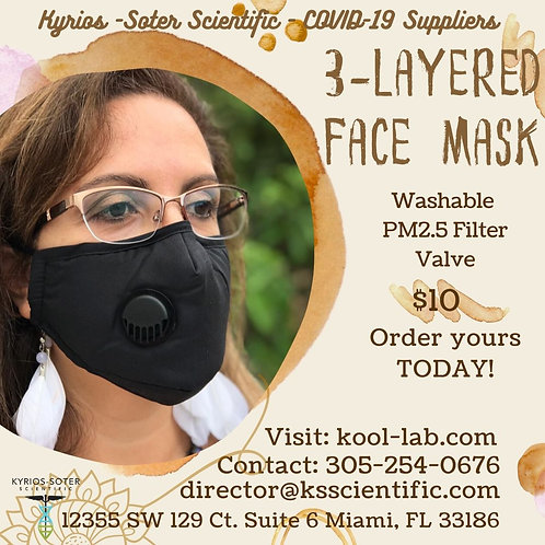 3Layers Mask include filter and valve. Adjustable nose it keeps closed and safe.