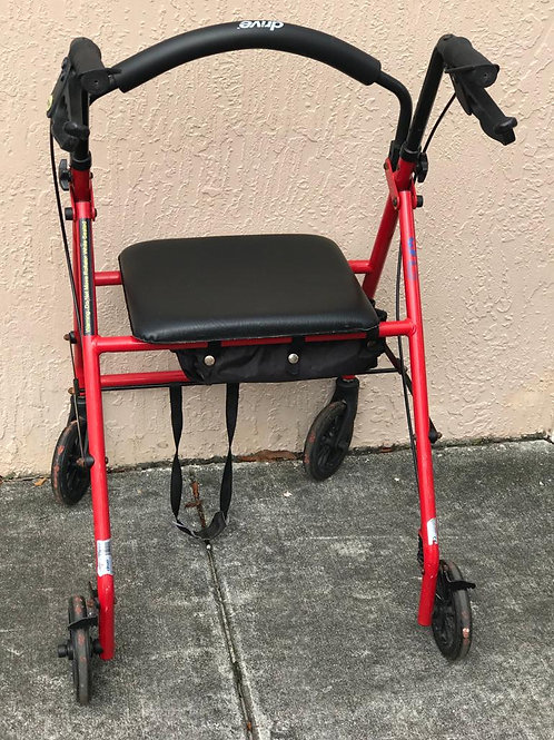"""Used Walker with 6"""" Wheels Fold Up Removable Back Support"""