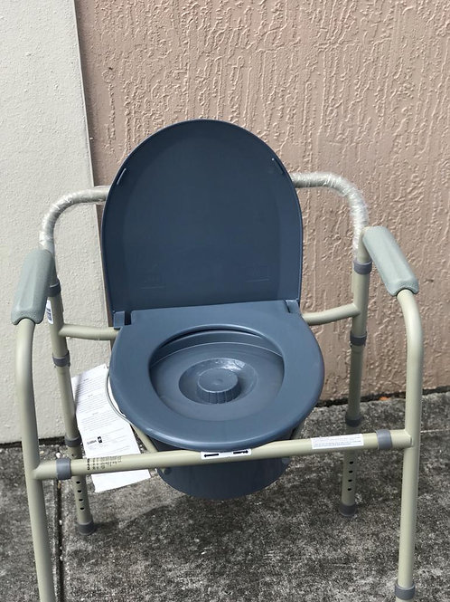 Equate Steel Foldable 3-in-1 Bedside Toilet Commode,  Used-Blue