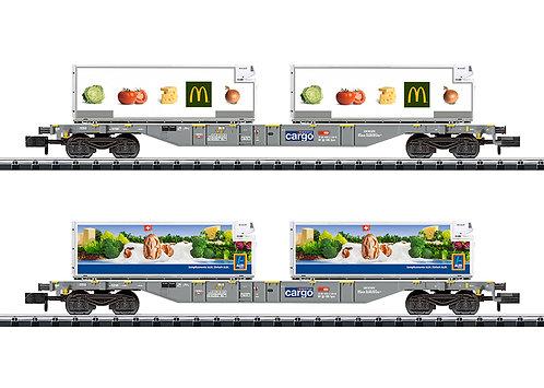 Minitrix CFF Set de wagons porte-conteneurs Aldi/Mc Donald's