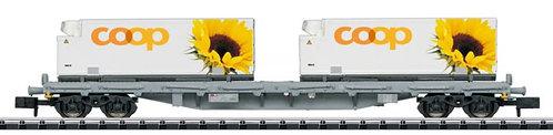 Minitrix CFF wagon porte-conteneurs COOP tournesols