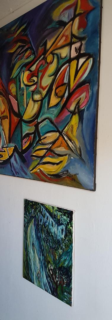 """parete d'entrata """"atelier aperto""""  entrance wall  """"open atelier"""""""