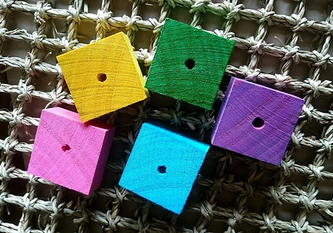 5 x Thick Colour Pine Wood Squares