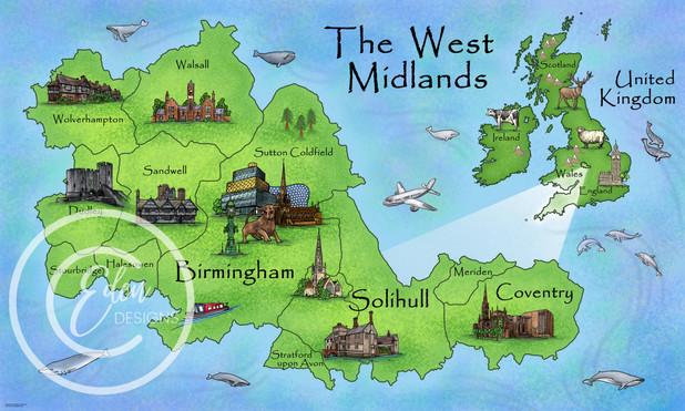 Illustrated West Midlands Map