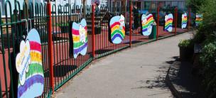 Handprined Rainbow Welcome Art