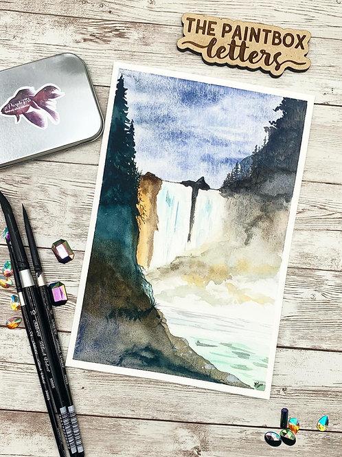 Lazuli Falls Watercolor Painting