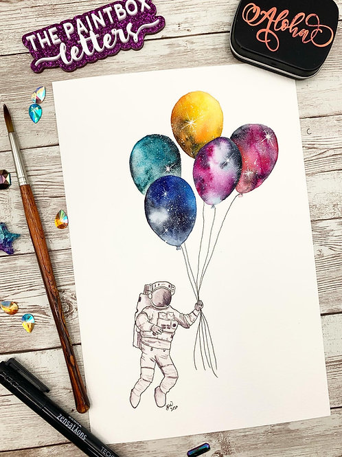 Galaxy on a String Watercolor Painting