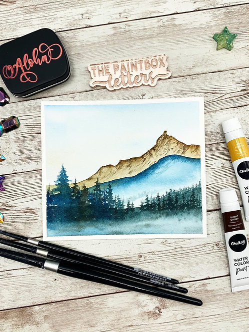 Blue Hills Watercolor Painting