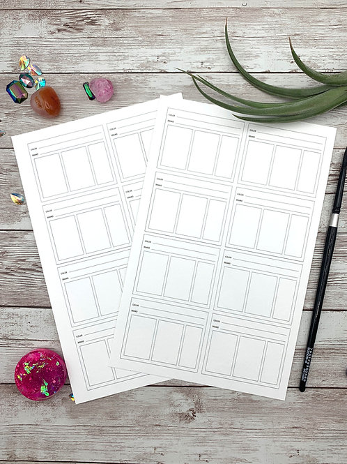 Printable Watercolor Swatch Sheet