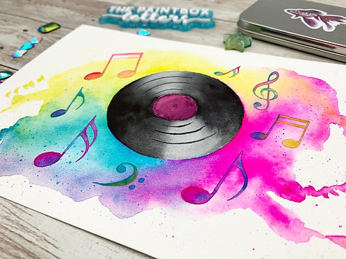 Vinyl Record Watercolor Painting