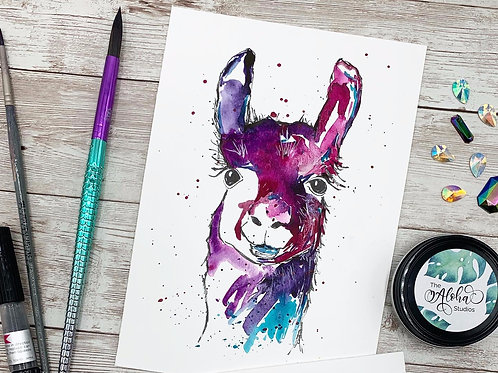 Colorful Llama Watercolor Painting
