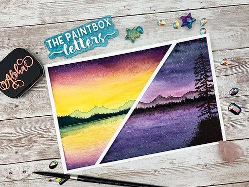 Split Landscape Watercolor Painting