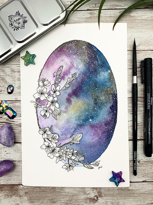 Cherry Blossom Galaxy Watercolor Painting