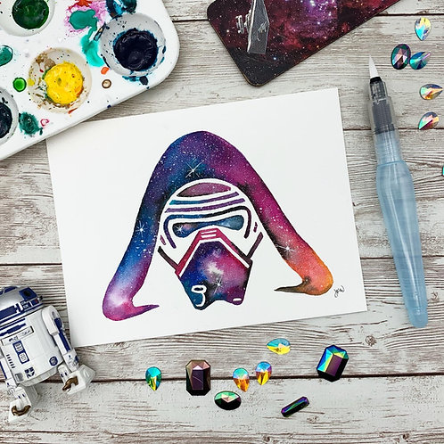Kylo Ren Ink and Watercolor Painting