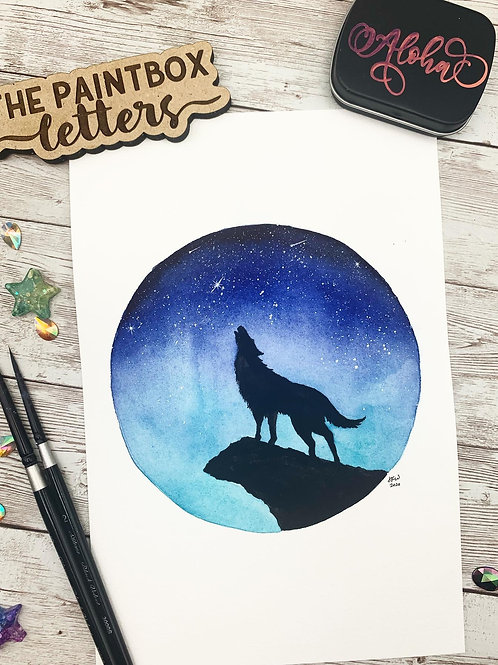 Howl at the Moon Watercolor Painting