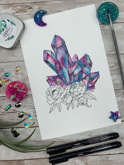 Crystal Galaxy Watercolor Painting