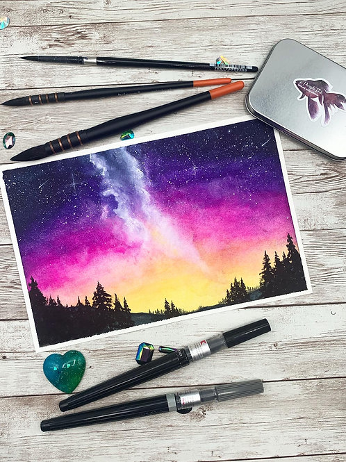 Pink Sunset Watercolor Painting