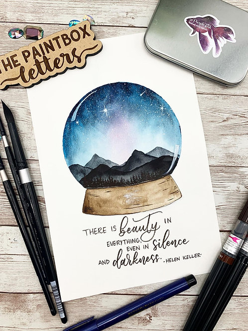 Night Sky Snow Globe Watercolor Painting