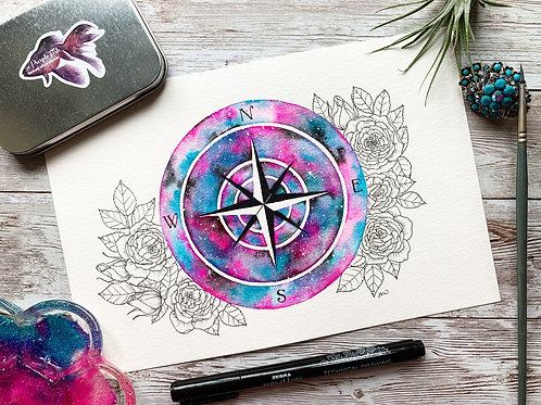 Galaxy Compass Watercolor Painting